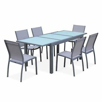 Salon de jardin table extensible - Orlando Gris clair - Table en aluminium 150/