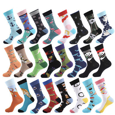 NEW Mens Cotton Socks Novelty Funny Animal Panda Bird Shark Dress Socks For Gift