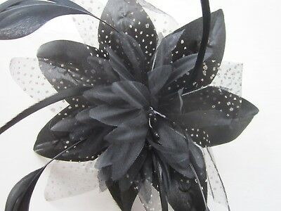 Black FASCINATOR | Flower Net Ribbon | Feather Tendrils | Comb | Wedding (4A)