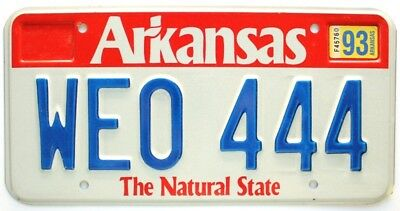 """Unused NOS Arkansas 1993 """"Red Band"""" License Plate, WEO-444, Triple, High Quality"""