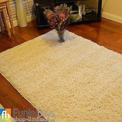 Modern Ex-Large Cream/Ivory Thick Plain Soft Shaggy Rug Non Shed Pile Rugs