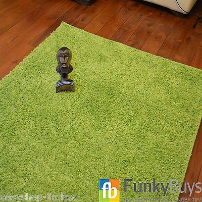 Small X Large Lime Green Thick Plain Soft Shaggy Rug Non Shed Pile Modern Rugs