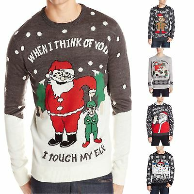 Christmas Jumpers Mens Ginger Bread Xmas Novelty Rude Santa Elf Snowman Sweater