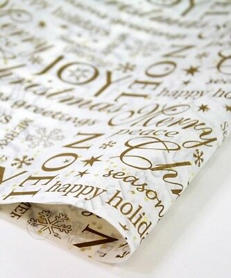 PREMIUM CHRISTMAS TISSUE PAPER SHEETS - GLITTER SPARKLE - Wrapping 50cm x 75cm