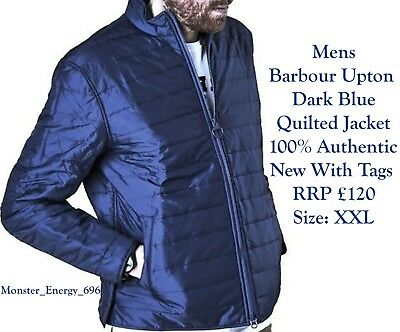 💙 Authentic Barbour Upton Dark Blue Black Quilted Mens Lightweight Jacket Coat