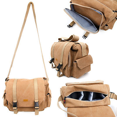 Brown Canvas Bag for Olympus OM-D E-M5 Mark II W// Multiple Storage Compartments