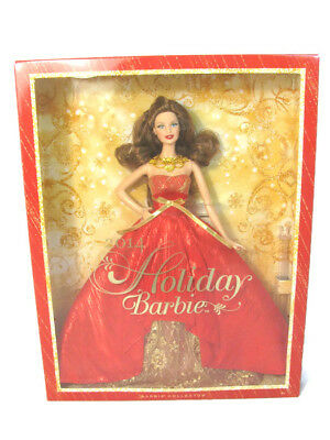 Mattel 2014 HOLIDAY Christmas Brunette Barbie Doll Collector Red Dress NEW