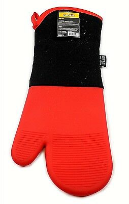 Heat Resistant 16 Inch Red Silicone Non-Slip Oven Glove BBQ Cooking Mitt Kitchen