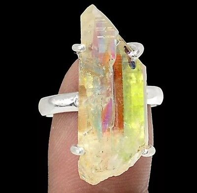 Solid 925 Sterling Silver Rare Angel Aura Quartz Crystal Gemstone Ring (Sz 8/ P)