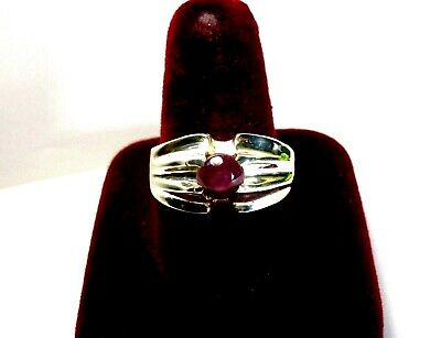 Vintage 925 St. Silver Ring Studded With 2.13 Ct Star Ruby