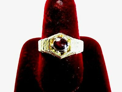 VINTAGE 925 ST. SILVER RING WITH 6 MM STAR RUBY, Size T