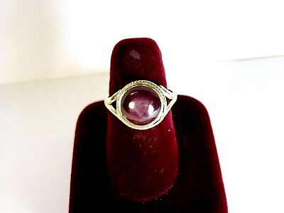 Vintage 925 St. Silver Ring Studded With 10 Mm Star Ruby