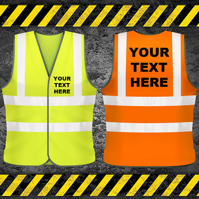 Personalised Hi Vis Vest Custom Printed Hi Viz Safety Waistcoat High Work Wear