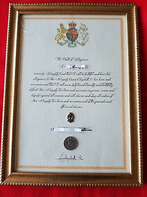PWRR Princess of Wales Royal Regiment  framed Oath Of Allegiance and lapel Badge