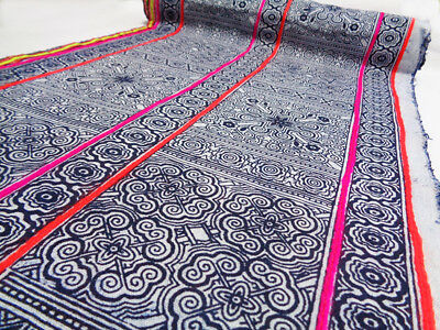 Vintage Fabric Hmong Tribal Table Runner Batik Indigo Hand Printed #ZA5