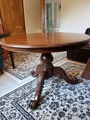 Spectacular Antique Original Mahogany Round top dining breakfast table carved