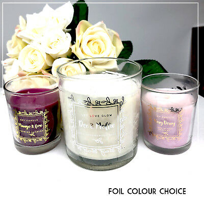 Personalised foil Candle Transparent stickers custom label name wedding  x 24