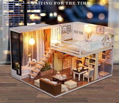 Wooden DIY Dollhouse Miniature with Furniture 1:24 Assembly Model Creative Room
