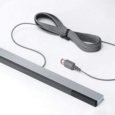 New Wired Infrared Ray Sensor Bar for Nintendo Wii Black with Silver X