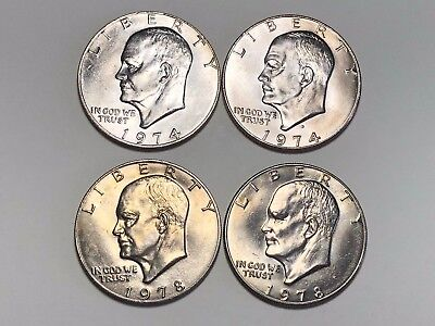 Lot of 4 Eisenhower Ike Dollars Clad Uncirculated 1974 P D 1978 P D