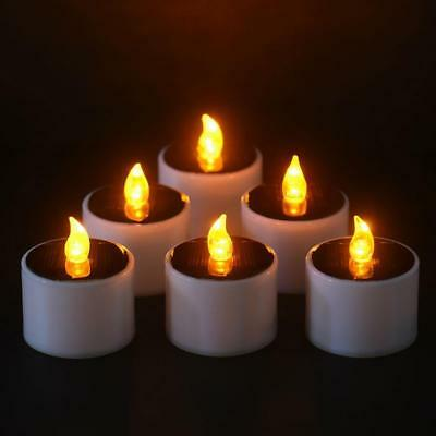 Solar Candle Power LED Candles Flameless Electronic Cylindrical Tea Lights Gift.