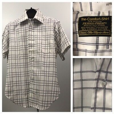 Vintage NOS 1960s 1970s White and Black Plaid Print Button Down Shirt Large