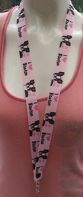 Boston Terrier dog safety breakaway lanyard keys, 2 sizes, ID badges ribbon gift