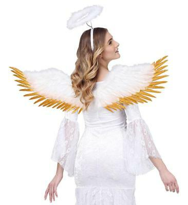 White Feathered Wings Fancy Dress Gold Trimmed Adults Angel Nativity