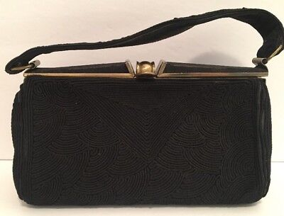 Vintage 60's 70's Women's Black Purse Handbag Money Retro Flacon Zipper RARE