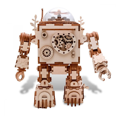 3D Puzzle Music Box Kit DIY Wooden Robot Musical Box w/ LED Light Christmas Gift