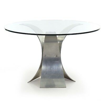 Vintage Modern Curved Aluminum and Glass Center Round Dining Table circa 1970s