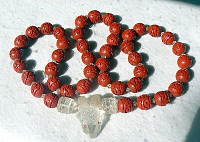 Vintage Chinese Hand Carved Red Lacquer Cinnabar Beads Necklace Crystal Ram Pend