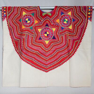 Vintage Mexican Guatemalan Embroidered Huipil Poncho Tunic Boho Hippie Dress