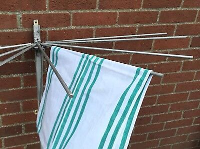 Vintage Art Deco 1930's Aluminium Clothes Airer Dryer Wall Mounted Extendable