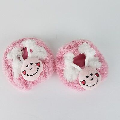 Build-a-Bear Workshop Bootique Love Bug Slippers Pink Soft Fuzzy Shoes EXC BABW