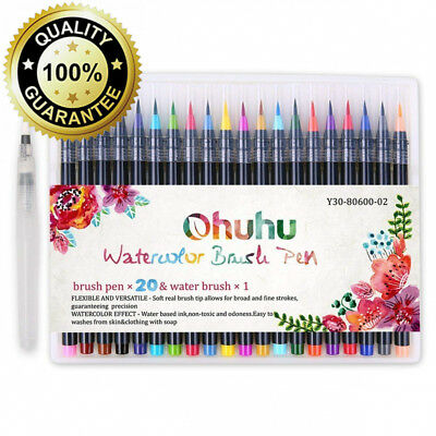 Watercolour Brush Pens, Ohuhu 20 Colours Water Colour Painting Markers W/ A...