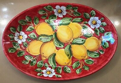 Vietri Pottery-10x15 Inch Oval With Lemons.Made/Painted by hand in Italy
