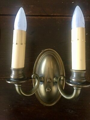 Vintage Elegant Brass Candle Electric Wall Sconce Light Fixture