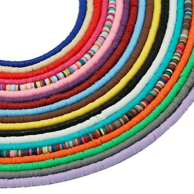 """1 Strand 18"""" Handmade Flat Disc Polymer Clay Beads 3/4/5/6mm Jewelry Findings"""