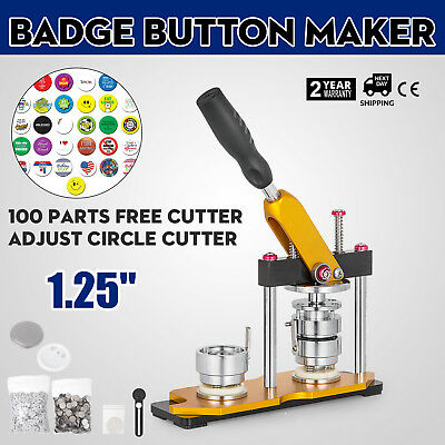 32mm(1.25'') Button Badge Maker Press Machine 100Pcs Key Rotate Buttons Handle