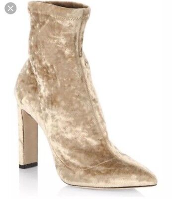 d00305a0b114 Jimmy Choo Louella Champagne Stretch Velvet Ankle Sock Boot Heel Shoes Size  7.5
