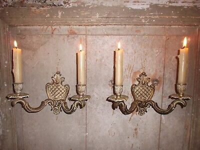 French a pair of patina bronze wall candle holders  antique / vintage
