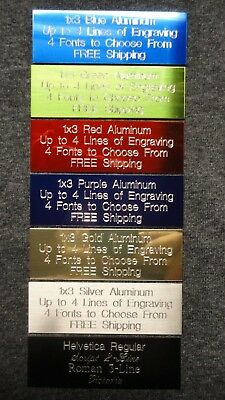 1x3 Custom Engraved Aluminum Plate  7 Colors Trophy Plaque Flag Pet