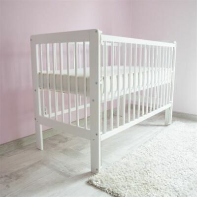 NEW WHITE COT-BED 120x60 DROP SIDE - MATTRESS INCLUDING