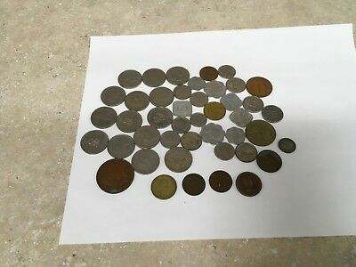 Lot of 44 Different British & East Caribbean Coins - 1881 to 1980's - Circulated