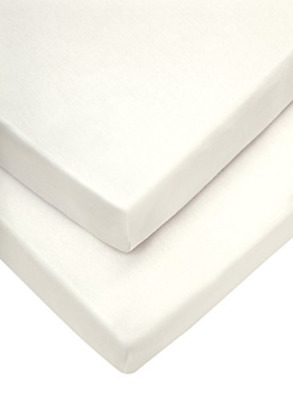 Mamas & Papas Moses Fitted Sheets, Cream, 30 x 68 cm Pack of 2, Nursery Bedding