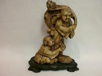 Vintage Antique Chinese Carved SOAPSTONE Two Boys With Bat Figurine Statue Prior