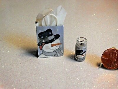 Dollhouse Miniature Gift Bag and Candle Set❤Snowman❤1:12 Scale by Wendy Howard