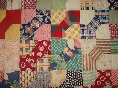 Antique Bow Tie Quilt Hand Quilted Polka Dots 1920's Pink Calico 73 X 56 Display