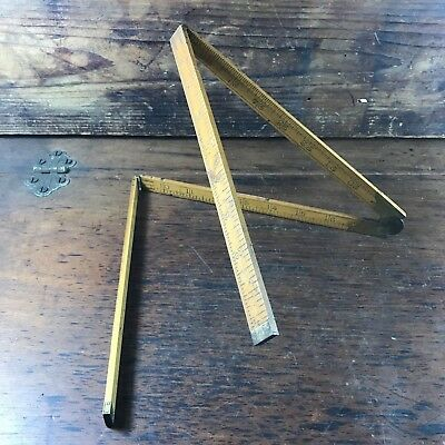 "ANTIQUE RABONE No.1377 BOXWOOD 3FT FOLDING RULE 9"" FOLDED MADE IN ENGLAND RULER"